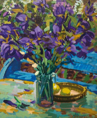 Valentsov Vladimir, Irises, 2013, oil on canvas, 65x76 cm. special exhibition M.Video - ART Innsbruck 2014
