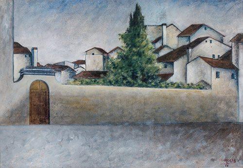Piazza del Carmine - Ottone Rosai (Firenze 1895-Ivrea 1957) olio su tela, anno 1922, acquistato alla XII Mostra d'Arte del Sindacato Interprovinciale Fascista di Belle Arti, Firenze 1941. Firenze, Galleria d'arte moderna di Palazzo Pitti