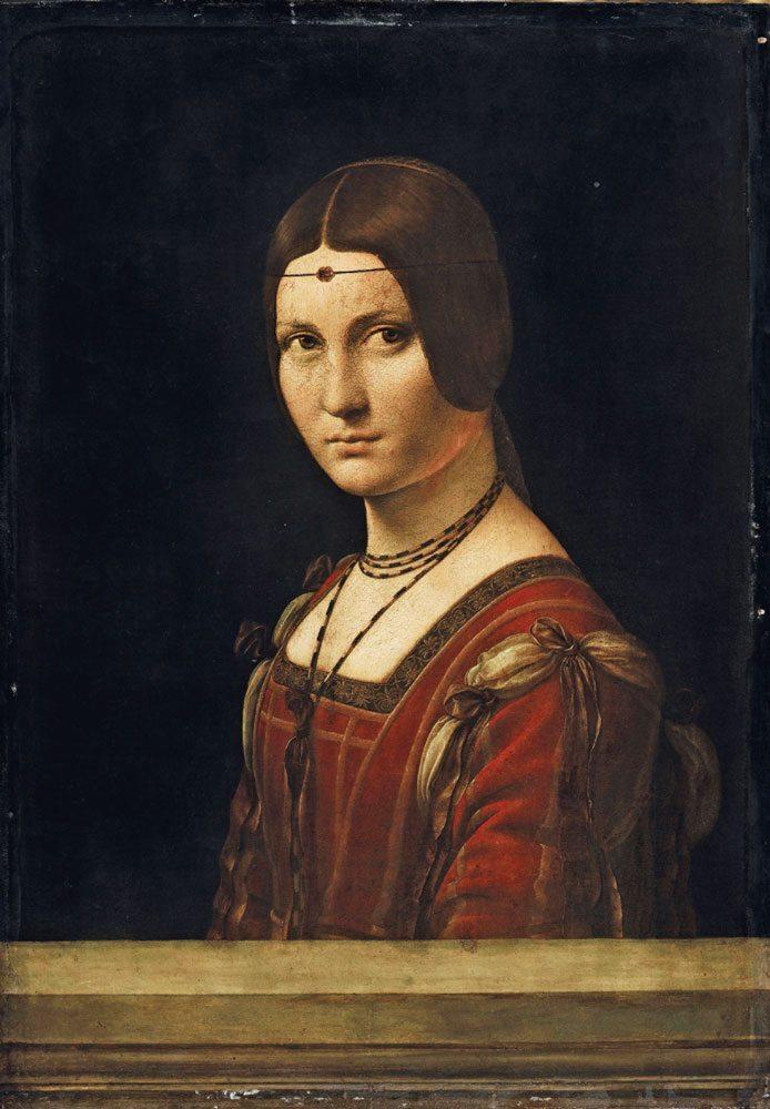 """Ritratto di dama (La Belle Ferronnière o """"Presunto ritratto di Lucrezia Crivelli"""") olio su tavola di noce, anno 1493-1495 circa, 63x45 cm. Parigi, Musée du Louvre, Départementdes Peintures, Collezione dell'Imperatore Francesco I"""