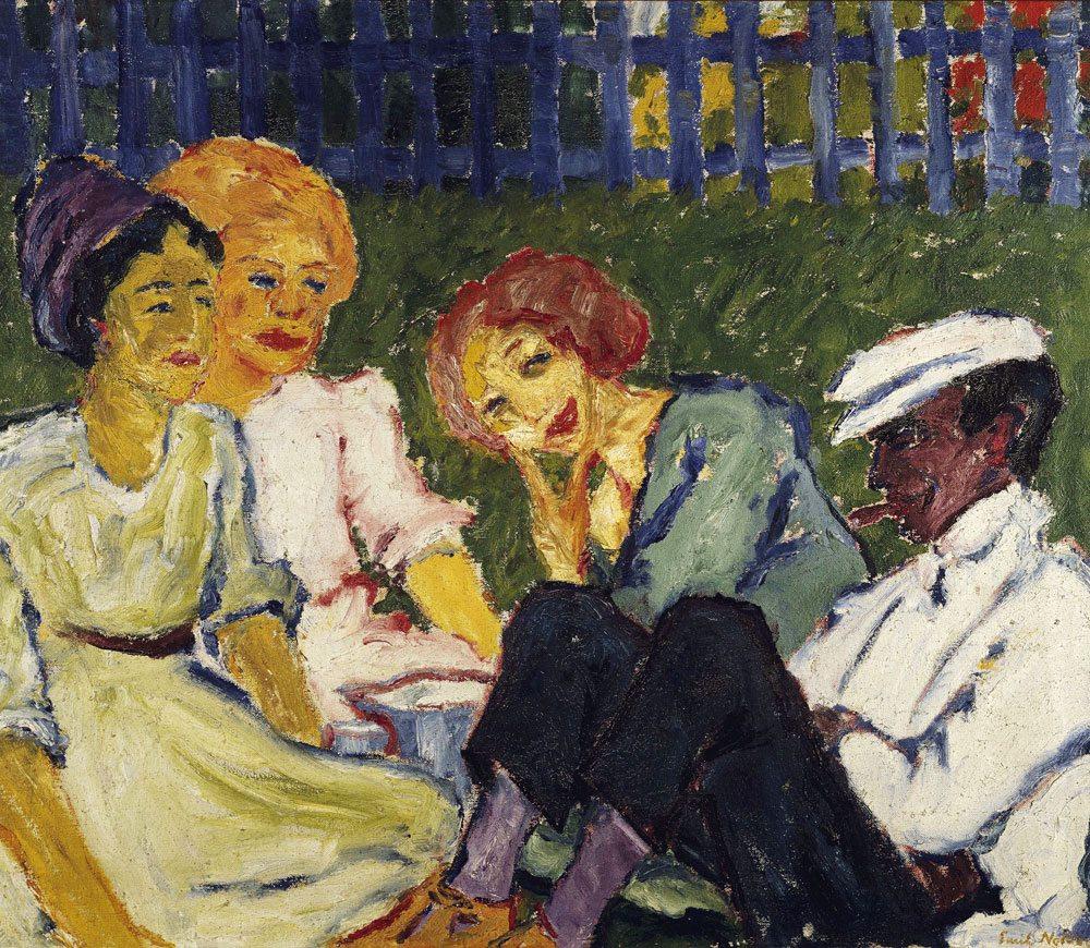 Emil Nolde - Villeggianti olio su tela, anno 1911, 87x101 cm. Brücke-Museum, Berlino  © Nolde Stiftung Seebuell