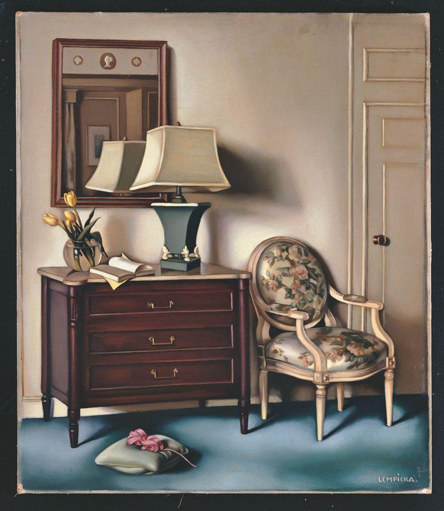 Chambre d'hotel olio su tela, anno 1951 ca., 66x45,70 cm. Collezione privata  © Tamara Art Heritage.  Licensed by MMI NYC/ ADAGP Paris/ SIAE  Roma 2015