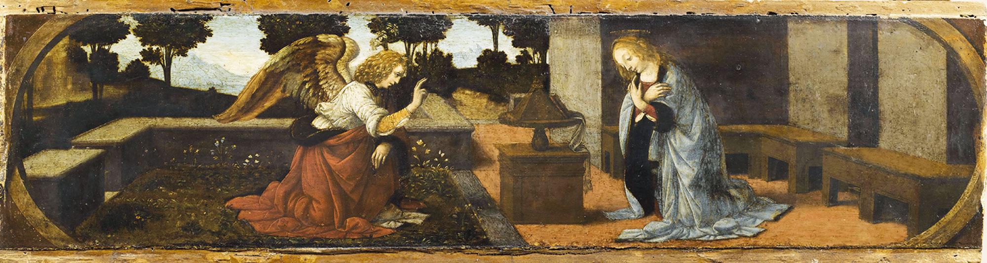 Leonardo da Vinci (e Lorenzo di Credi?) - Annunciazione olio su tavola di pioppo, anno 1478-1480 circa, 16x60 cm. Parigi, Musée du Louvre, Département des Peintures, già in Collezione Campana, Roma, entrato al Louvre nel 1863