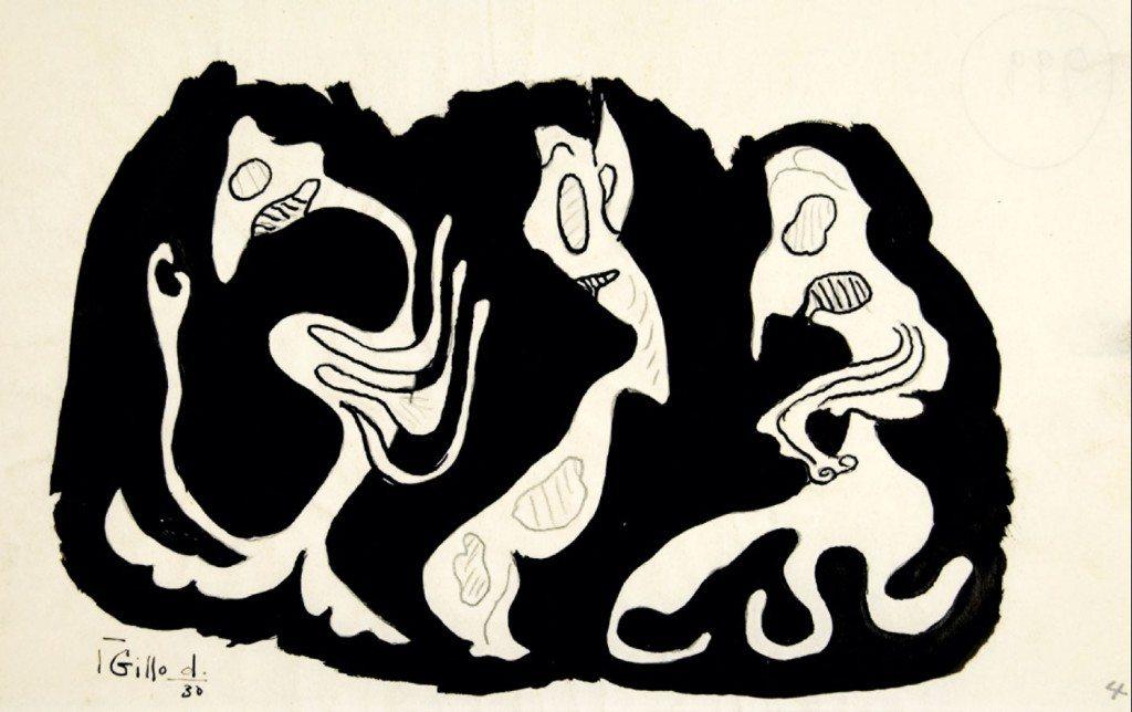 Gillo Dorfles Senza titolo, anno 1930 china su carta, 22,7x14,2 cm.