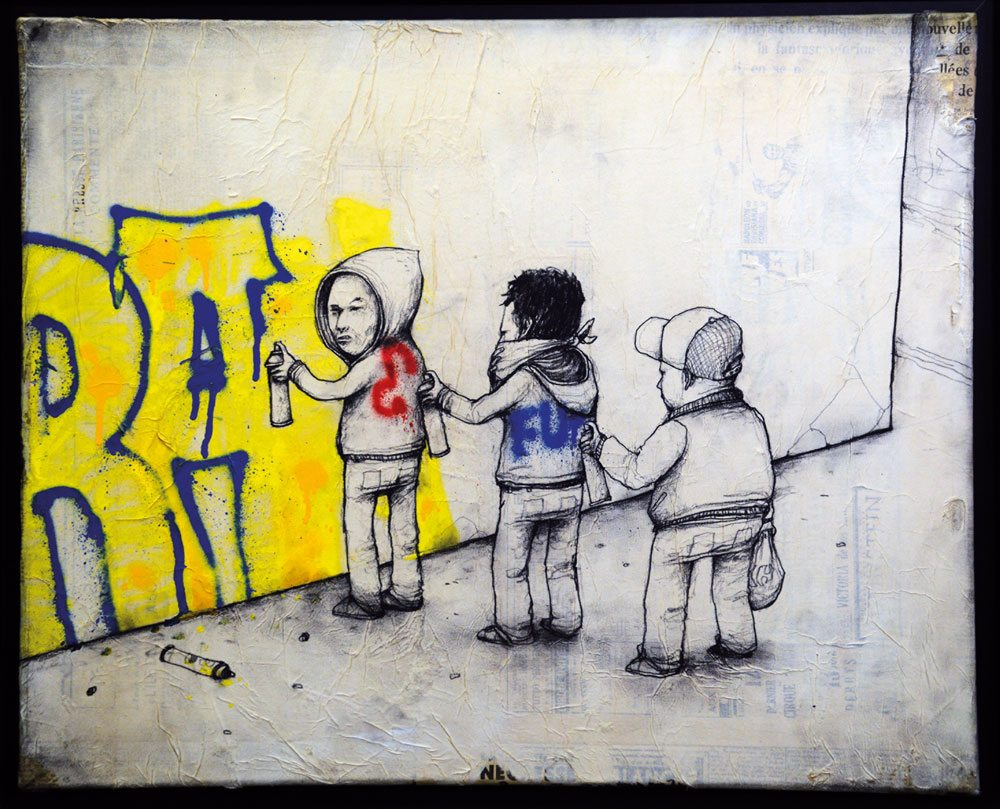 Dran - Art of Buffing 2010, matita, tempera e spray su carta incollata su tela, 50x61 cm. Collezione Jacques et Thierry, Parigi ©