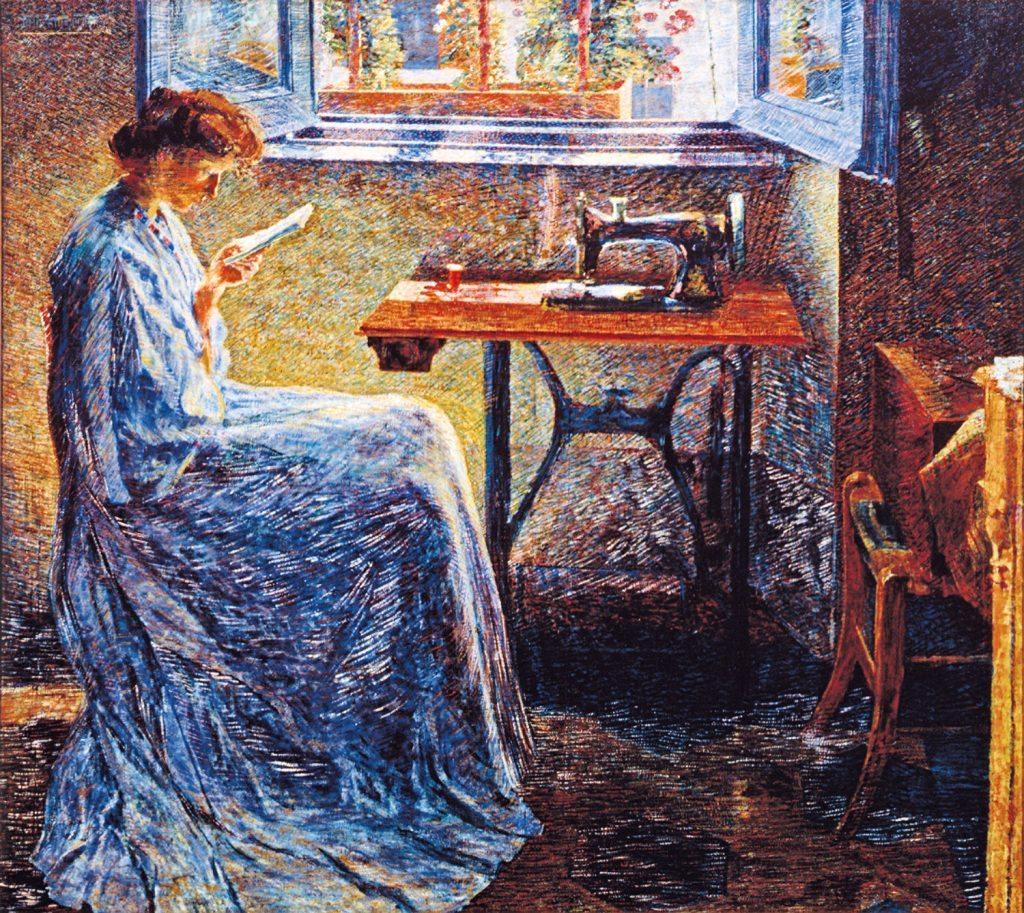 Umberto Boccioni, Romanzo di una cucitrice, 1908  olio su tela, 150x170 cm. Parma, Collezioni Barilla di Arte Moderna