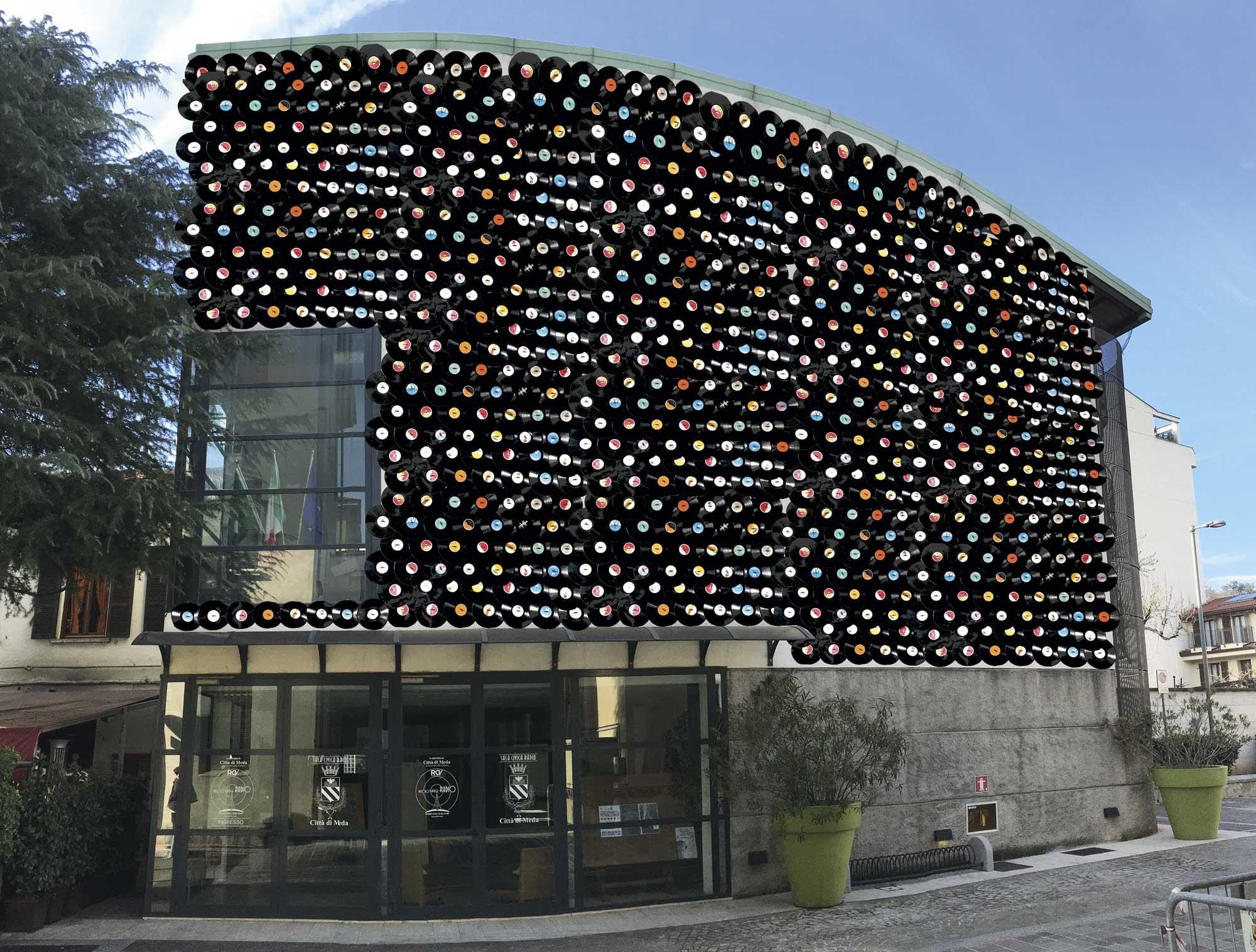 """Un rendering del progetto dell'installazione """"The Wall"""" di Mattia Consonni """"Musica per gli Occhi Experience"""" dal 27/10 al 18/11/2018 Sala Civica Radio - MEDA"""